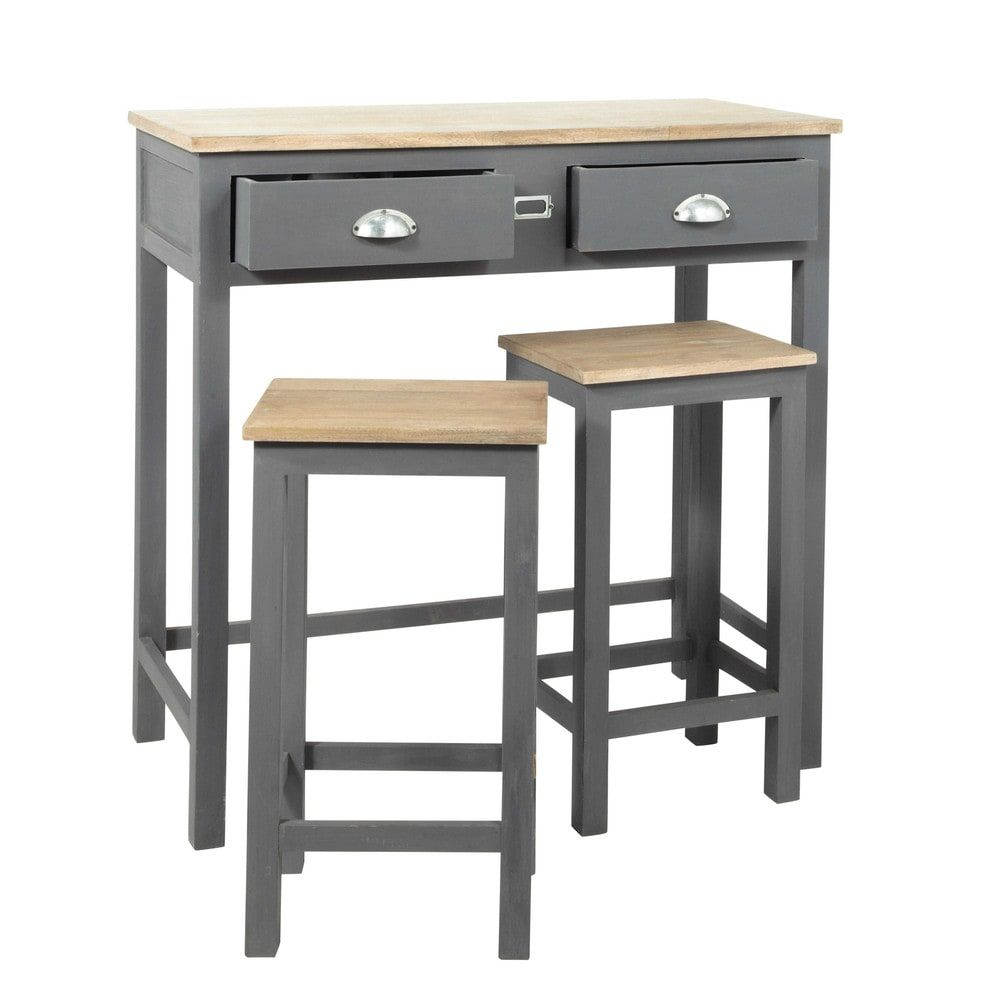 table manger haute et 2 tabourets gris l90 maisons du monde relooking cuisine. Black Bedroom Furniture Sets. Home Design Ideas