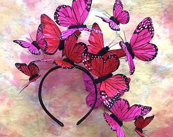 Galaktischen rosa Schmetterling Diadem Kopfschmuck Kopfschmuck #fascinatorstyles