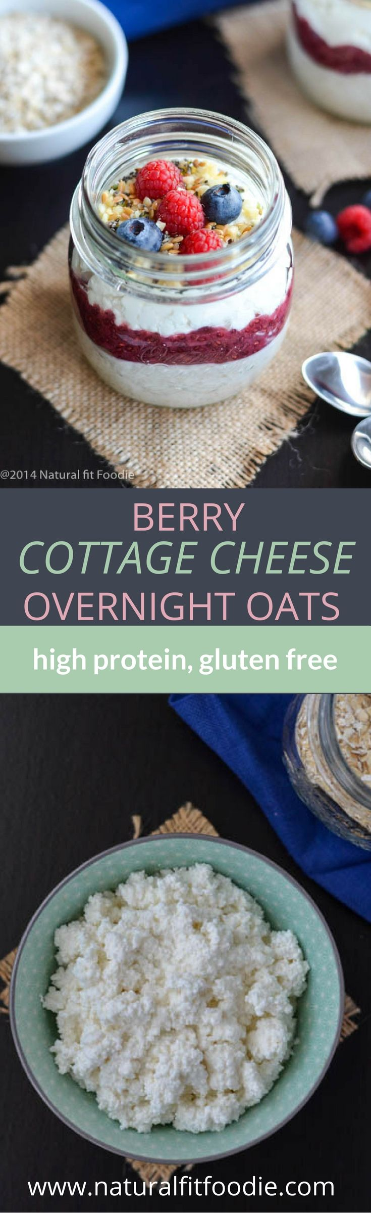 Berry cottage cheese overnight oats is an easy make ahead