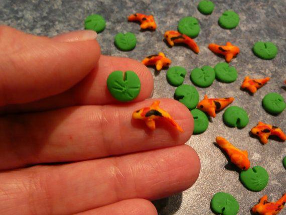 1 miniature koi fish or goldfish and 1 miniature lily for Clay koi fish