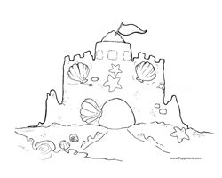 Building Sand Castle Coloring Page Summer Coloring Pages