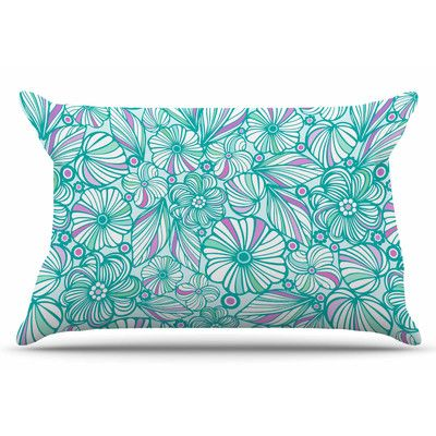 East Urban Home My Turquoise Flowers by Julia Grifol Pillow Sham Size: Standard