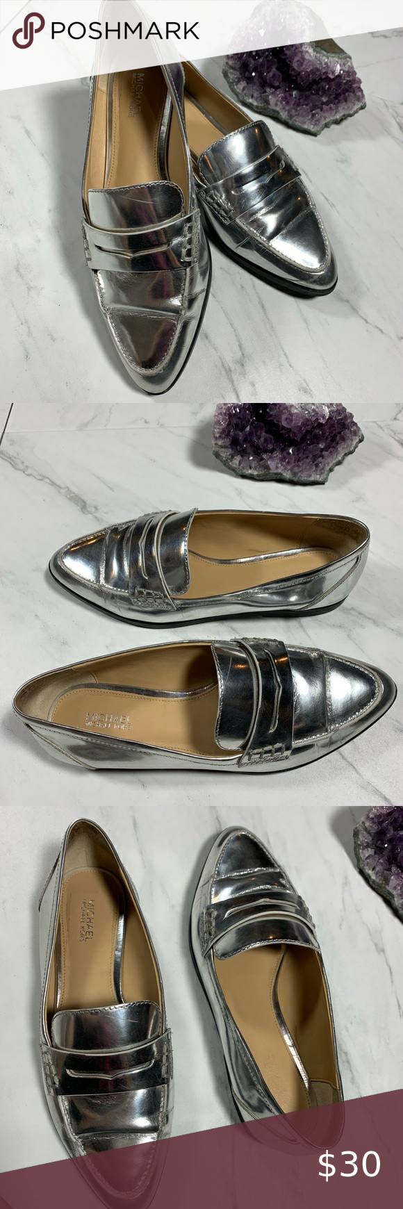 Michael Kors Silver Loafers in 2020