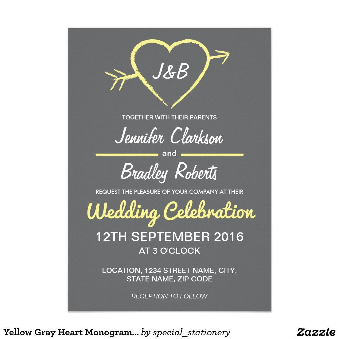 Gelbe Graue Herz Monogramm Hochzeit 12,7 X 17,8 Cm Einladungskarte