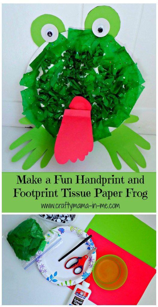 Make A Fun Handprint And Footprint Tissue Paper Frog