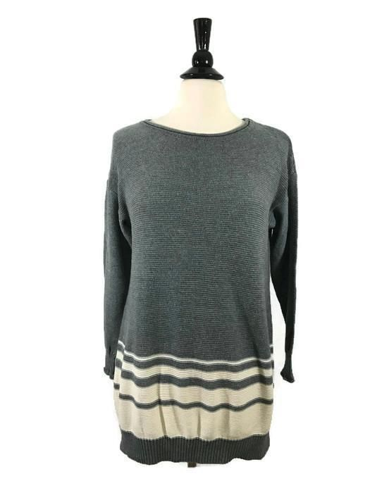 e69dae8d0e2 DAISY FUENTES Size L Large Womens Long Sleeve Sweater Tunic Top Gray  Natural EUC  DaisyFuentes  Tunic  Casual