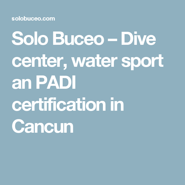 Solo Buceo Dive Center Water Sport An Padi Certification In