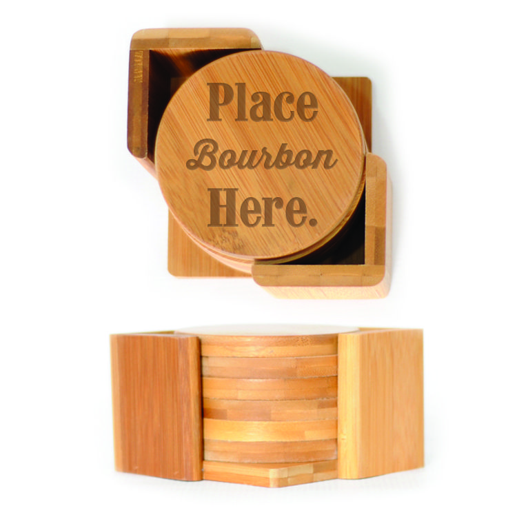 Round Wood Coasters (6) - Place Bourbon Here