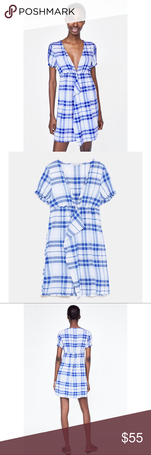 fdfa2bbb40 NWT ◁ ZARA CHECKERED DRESS Sold out everywhere! Size  Small Color  Blue