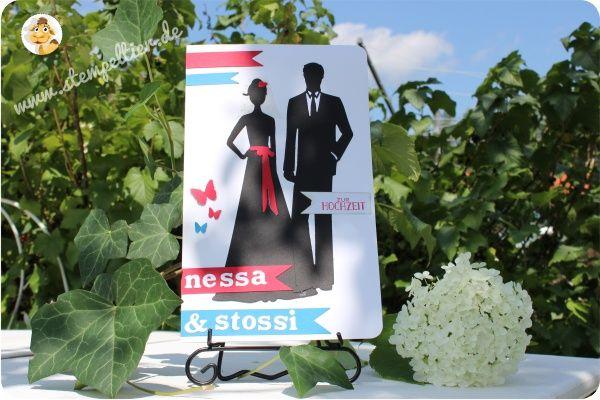 stampin up stempeltier Hochzeit Hochzeitskarte wedding Grusselemente Fähnchen Brautpaar