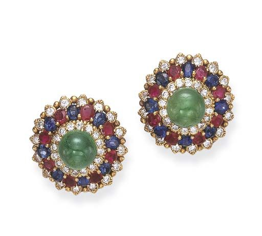 A PAIR OF GEM-SET EAR CLIPS, BY DAVID WEBB  Each centering upon a cabochon emerald, within a circular-cut diamond and oval-cut ruby and sapphire surround, mounted in 18k gold