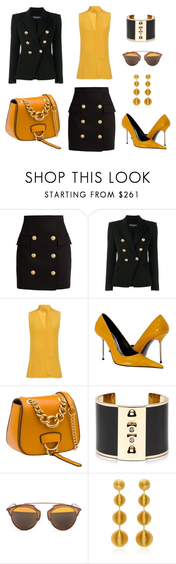 """CEO"" by holgal ❤ liked on Polyvore featuring Balmain, Edun, Miu Miu, Pluma, Christian Dior and Rebecca de Ravenel"