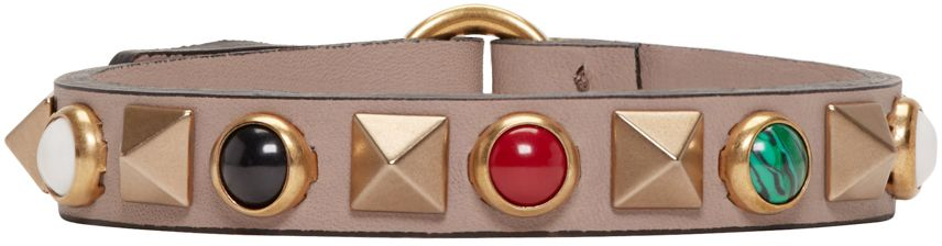 Valentino: Beige Stone & Rockstud Bracelet | SSENSE