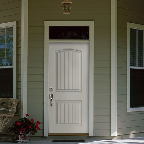 New Belleville Smooth Cheyenne 2 Panel Plank Camber Top Fiberglass Entry  Door