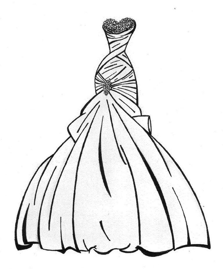 Princess Dress Coloring Page : princess, dress, coloring, Wedding, Dress, Coloring, Pages, Girls, Princess, Pages,, Girls,, Disney