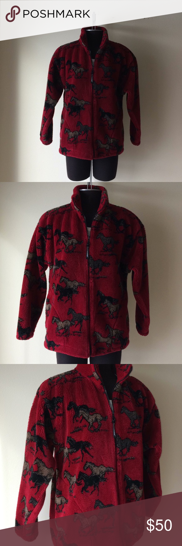 Black Mountain Fleece Horse Jacket Vintage Jacket Jacket Pattern Clothes Design [ 1740 x 580 Pixel ]