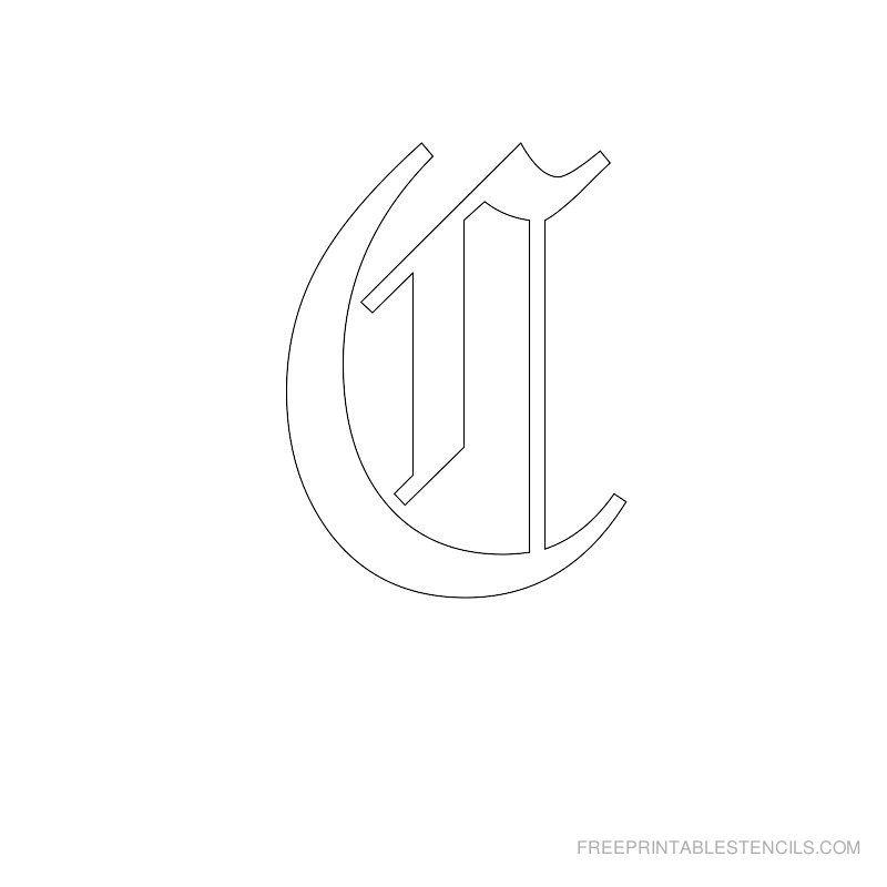 Printable Old English Alphabet Stencil H | crafts | Pinterest ...