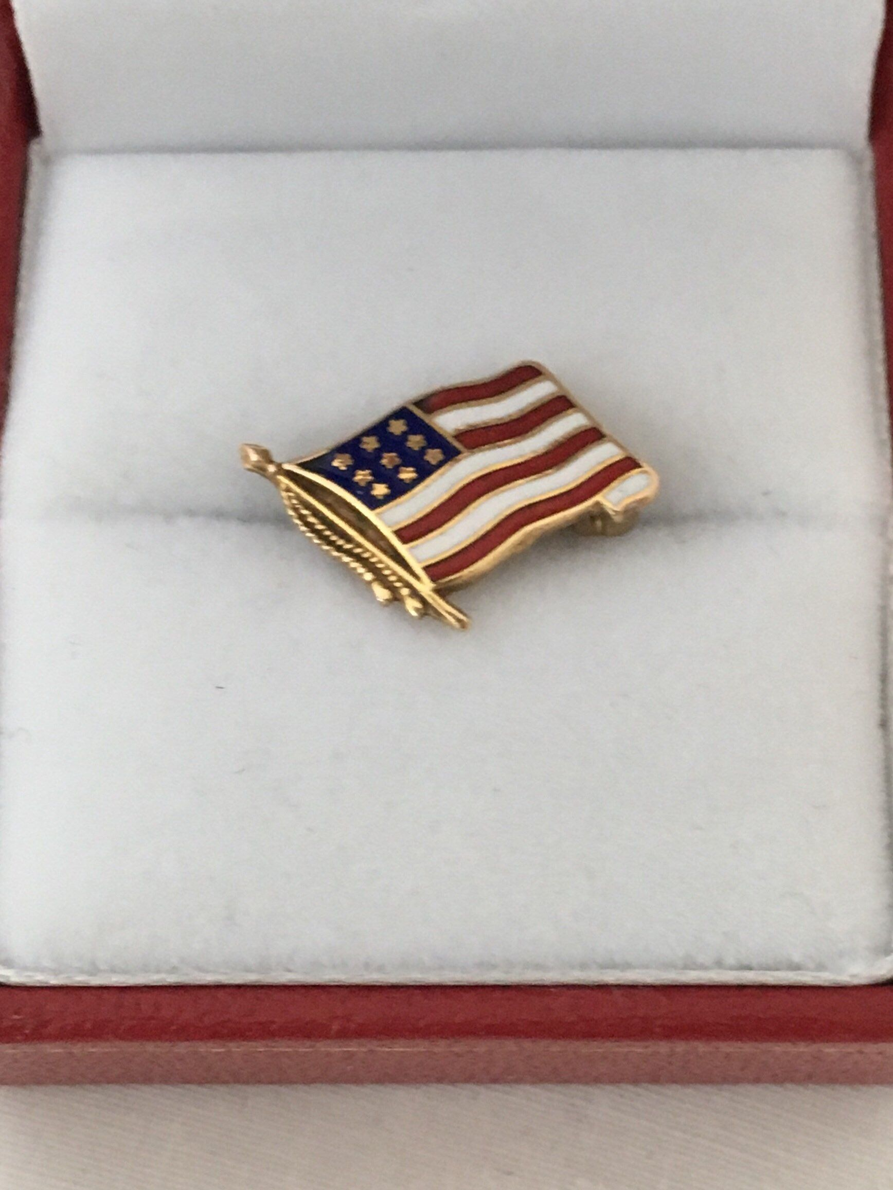 14k Gold Enamel Usa Flag Stars Stripes Red White And Blue Etsy Enamel Lapel Pin Gold Enamel American Flag Lapel Pin
