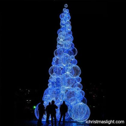 Christmas Theme Blue Lighted Tree
