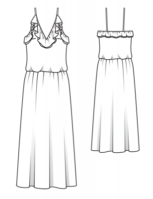 ruffle wedding dress pattern flat line drawing www