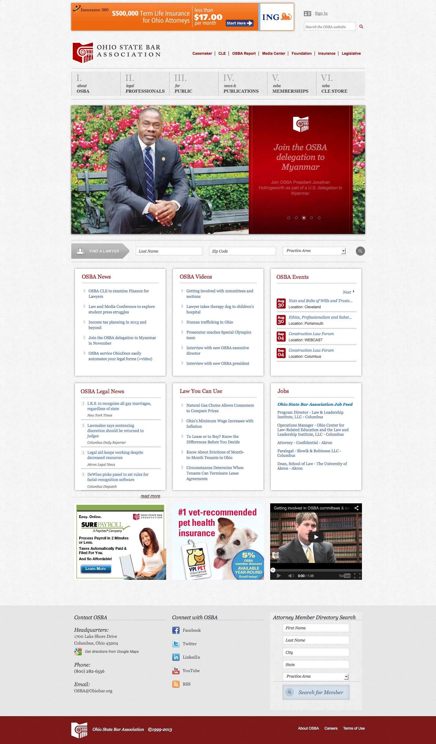 Ohio Bar Association Ohio state, Website design, Ohio