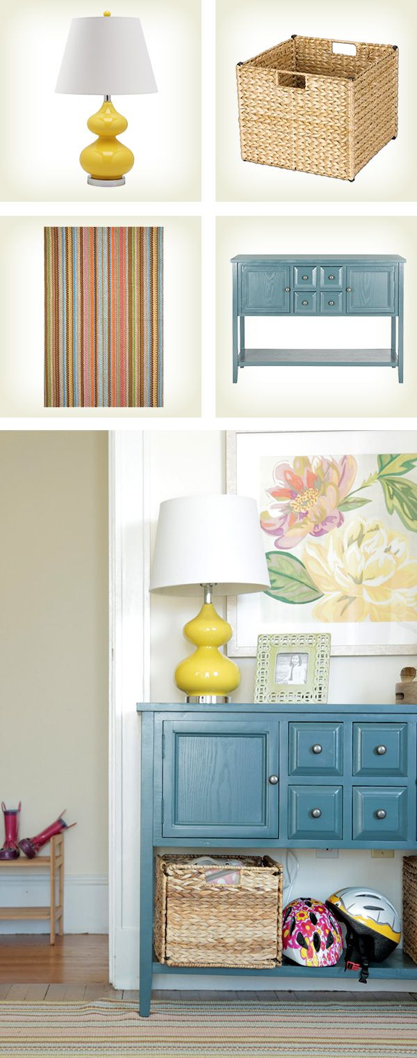 Loving how a colorful console table lamp rug and painting loving how a colorful console table lamp rug and painting welcome guests in this geotapseo Gallery