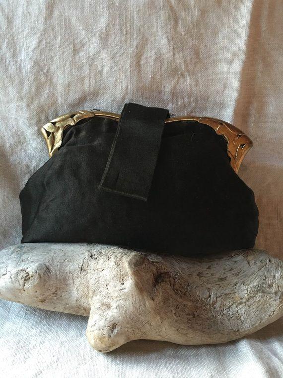 1940's black silk bag purse by casadeboneca on Etsy