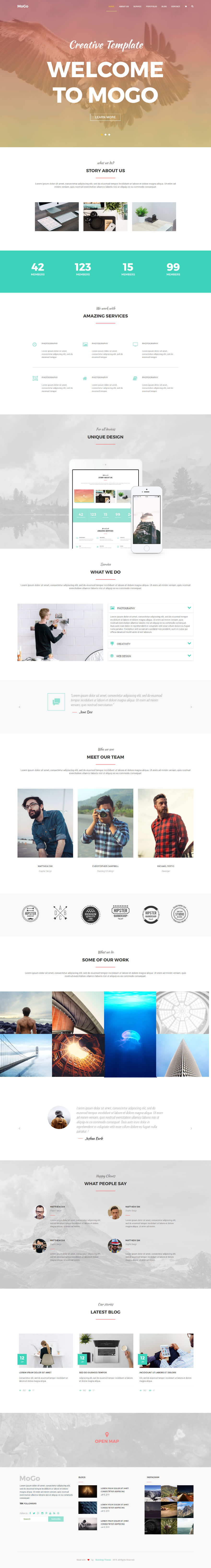 We Have Created Free Html Template Website Mogo Is A Unique Modern Single Page Html Template It S A Perfect Photoshop Templates Free Web Template Templates