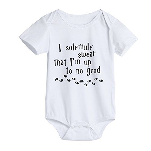 Solemnly Swear That I Am Up to No Good Romper Infant Baby Bodysuit One-Piece Jumpsuit T Shirt for Baby Black