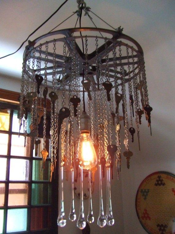 Art Deco Inspired Reclaimed Recycled Metal Keys Chandelier