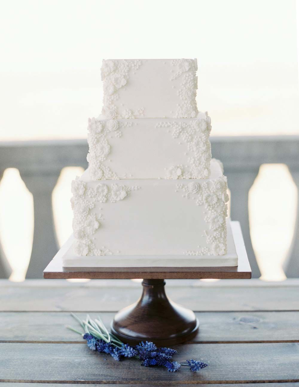 White square bas relief wedding cake amy beck cake design chicago