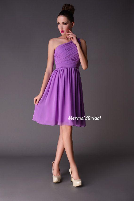 2013 A Line Tea Length Lilac Bridesmaid Dress Short Bridesmaid Dresses One Shoulder Bridesmaid