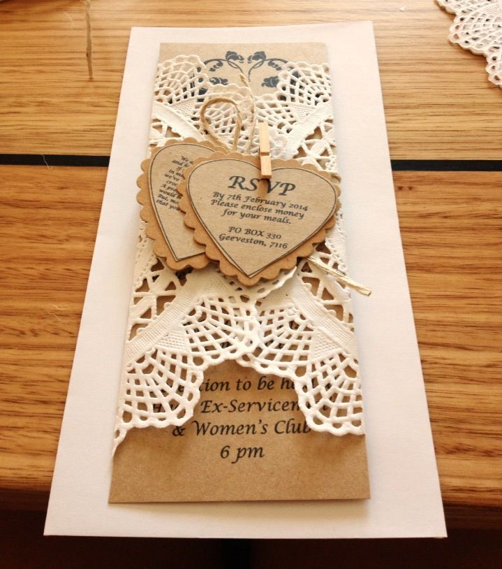 Rustic Shabby Chic Wedding Invitations Made With Doillies