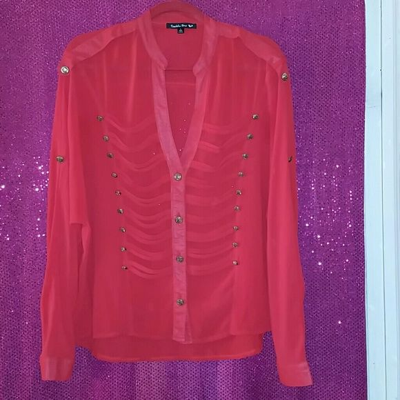 Blouse Gently worn (worn twice), red chiffon band style buttoned down blouse w/ gold detailed buttons. Gorgeous and very airy. Double Zero Tops Blouses