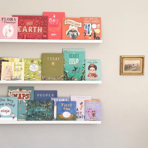 Organizing Kids Books By Color Ikea Mosslanda Ledges