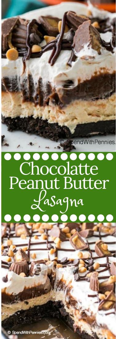 CHOCOLATE PEANUT BUTTER LASAGNA #dessert #peanutbuttersquares