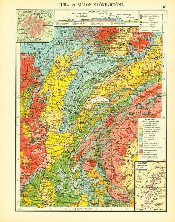 1950 Carte geologique Jura Rhone Saone - Planche Originale ...