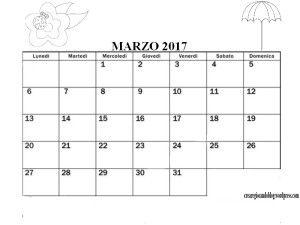 CalendarioMarzo  Calendario Italiano E Inglese