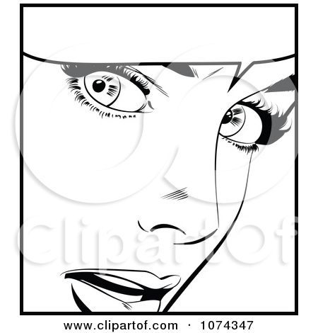 Clipart Black And White Surprised Retro Pop Art Woman And Word Balloon Royalty Free Vector Illustration By Bru Pop Art Women Pop Art Coloring Pages Retro Pop