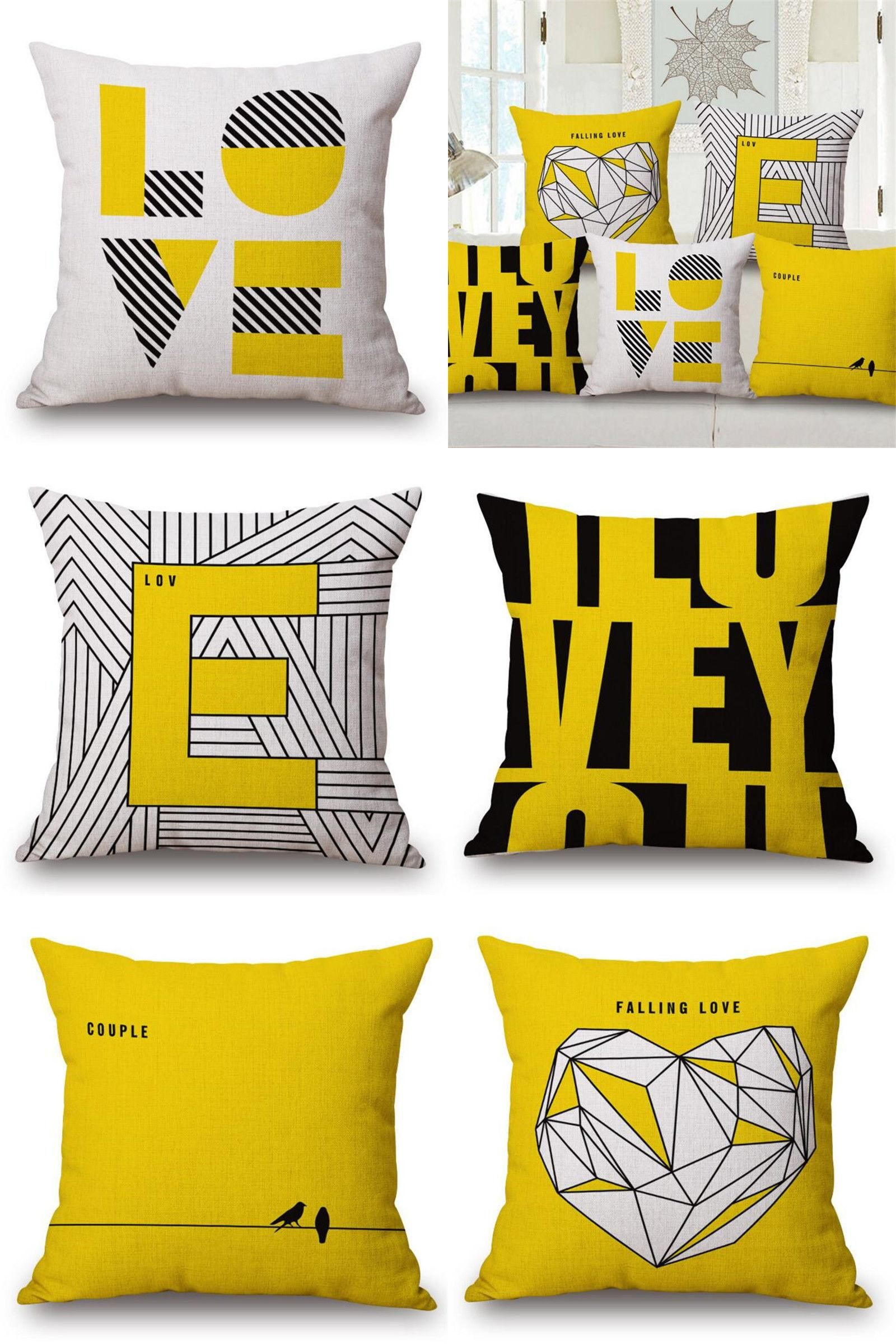 Visit to Buy] Hot Sale Yellow Love Cushion Cover Linen Throw
