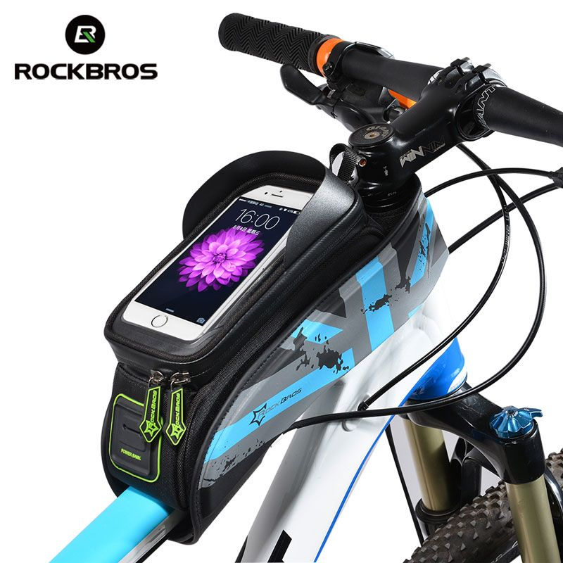 New Rockbros Bicycle Bag Mountain Bike Front Beam Touch Screen Mobile Phone Bag
