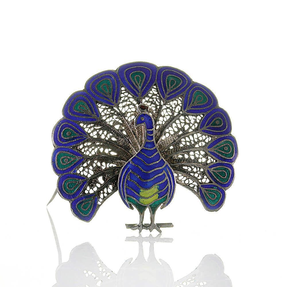 Zauberhafte Filigrane Pfau Tierform Brosche Aus Silber 835 Und Emaille Vintage Um 1950 Brosche Silber 835 Vintage