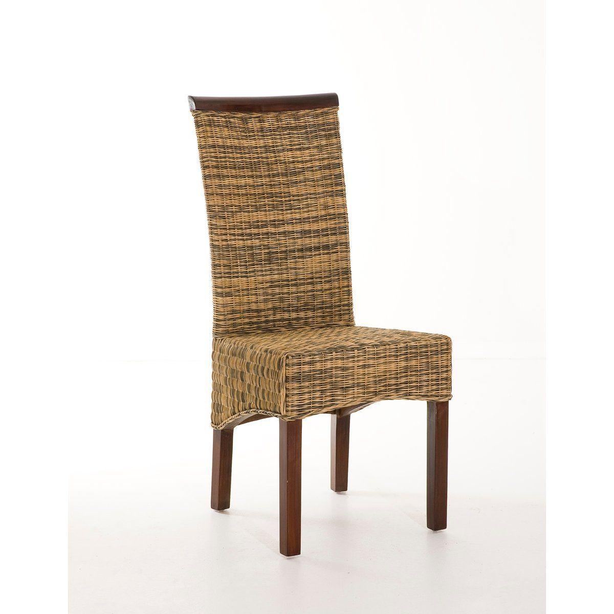 Chaise Structure En Bois Exotique Vernis Revetement Rotin Teinte Chene Moyen Chaise Rotin Chaise Chene