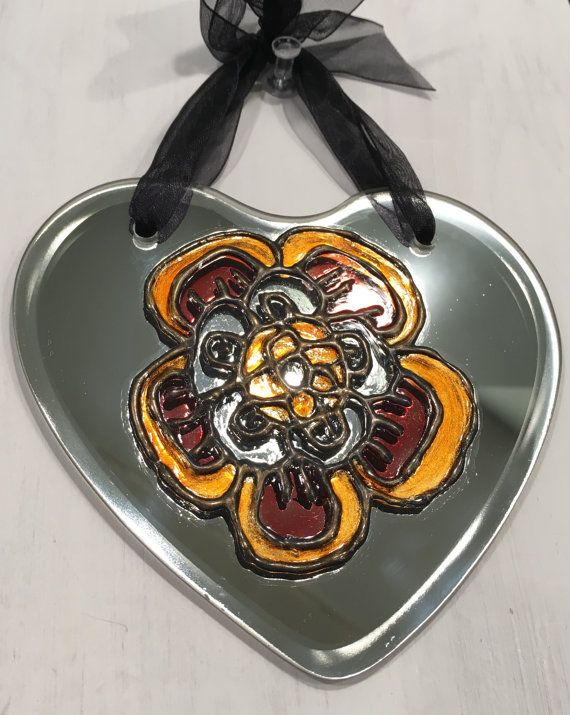Tudor Rose 4 1/2 mirror hand painted glass by SylviesSewCrafty