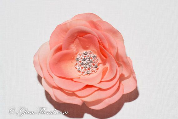 Peach Wedding Hair Flower Real Touch Rose Clip with by GlamFloral, $30.00