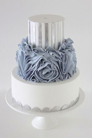 Dusty blue, silver and white wedding cake (Brides of Adelaide) by Sydney-based Sharon Wee.  Sharon Wee Creations is on Pinterest as @sharonwee