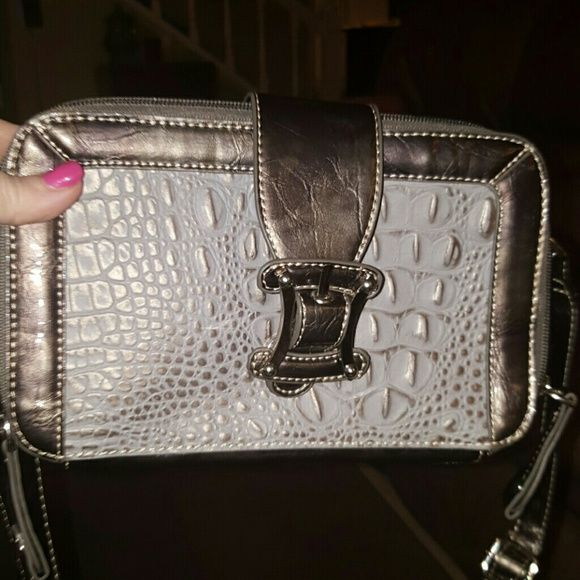Madie Claire Organizer Bag Croc Pewter Long Strap Madie Claire Bags Crossbody Bags