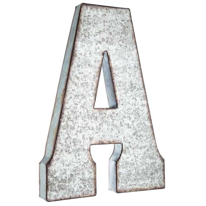 A Large Galvanized Metal Letter Hobby Lobby 871723 Metal Wall Letters Metal Letter Wall Decor Letter Wall Decor