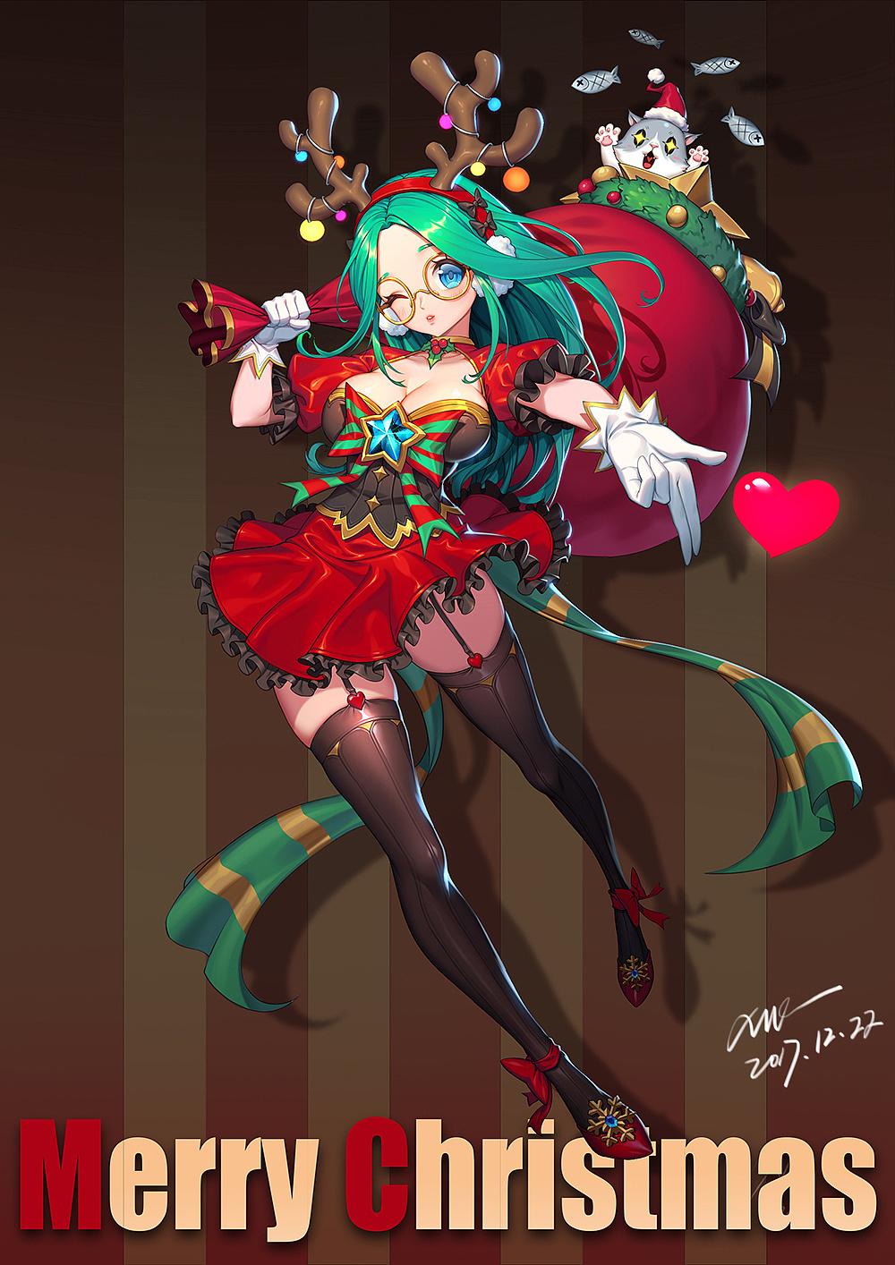 圣诞贺图插画插画习作XHE_ 原创作品 站酷 (ZCOOL) Anime christmas