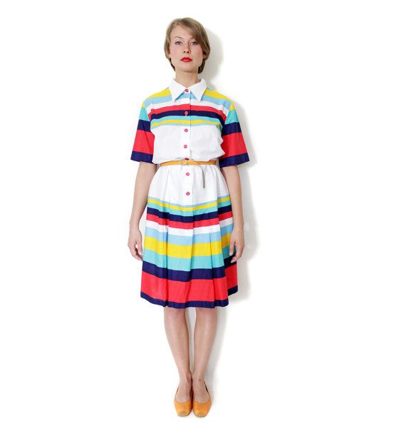 Vintage dress / white with colorful stripes cotton dress by nemres, $67.00